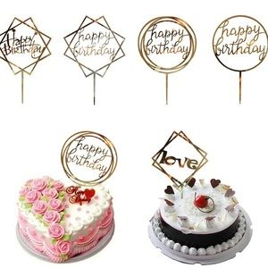 5 Pack Happy Birthday Cake Topper Acrylic Gold